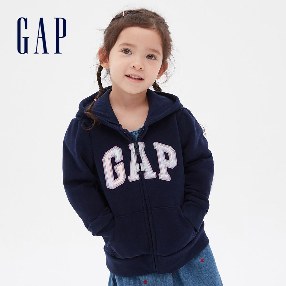 Gap 女幼童 Logo基本款休閒連帽外套 619618-海軍藍
