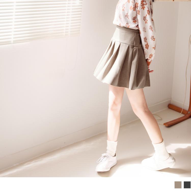 純色質感毛呢A字百褶短裙