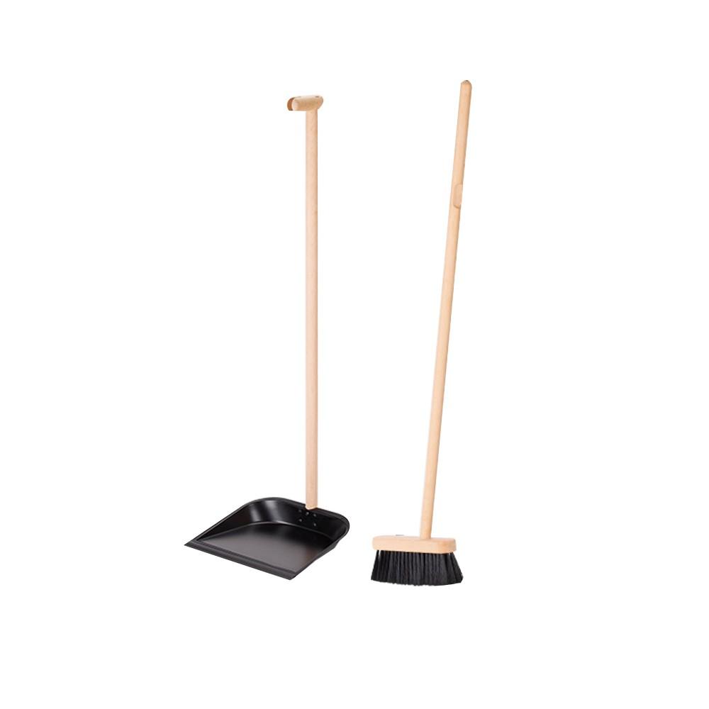 【日本霜山】北歐風天然實木長柄軟毛掃把&鐵製畚斗套組 (櫸木 掃具 掃把 掃帚 長柄 畚箕 軟毛)