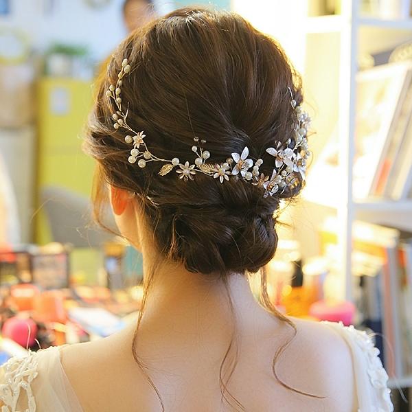金色手工新娘頭飾結婚禮服發飾配飾品唯美韓式串珠盤發婚紗配飾