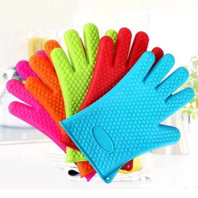 EZlife 矽膠防滑烘焙隔熱手套1雙(隨機色)加贈牆角雙層置物架(隨機色)(快)
