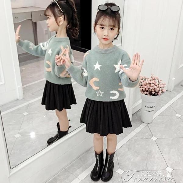 女童針織毛衣 童裝女童毛衣新款秋冬裝兒童韓版打底洋氣套頭加絨加厚針織衫 新年禮物