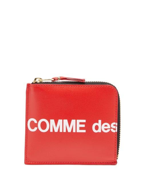 Comme Des Garçons Wallet - Logo-print Zip-around Leather Wallet - Mens - Red
