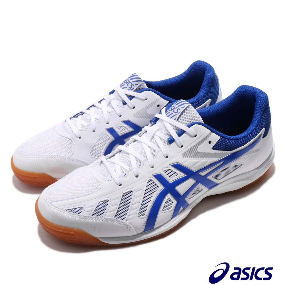 ASICS 桌球鞋 Attack Hyperbeat 3 男鞋 亞瑟士 膠底 防滑 適合多種場地 白 藍 [1073A004110]