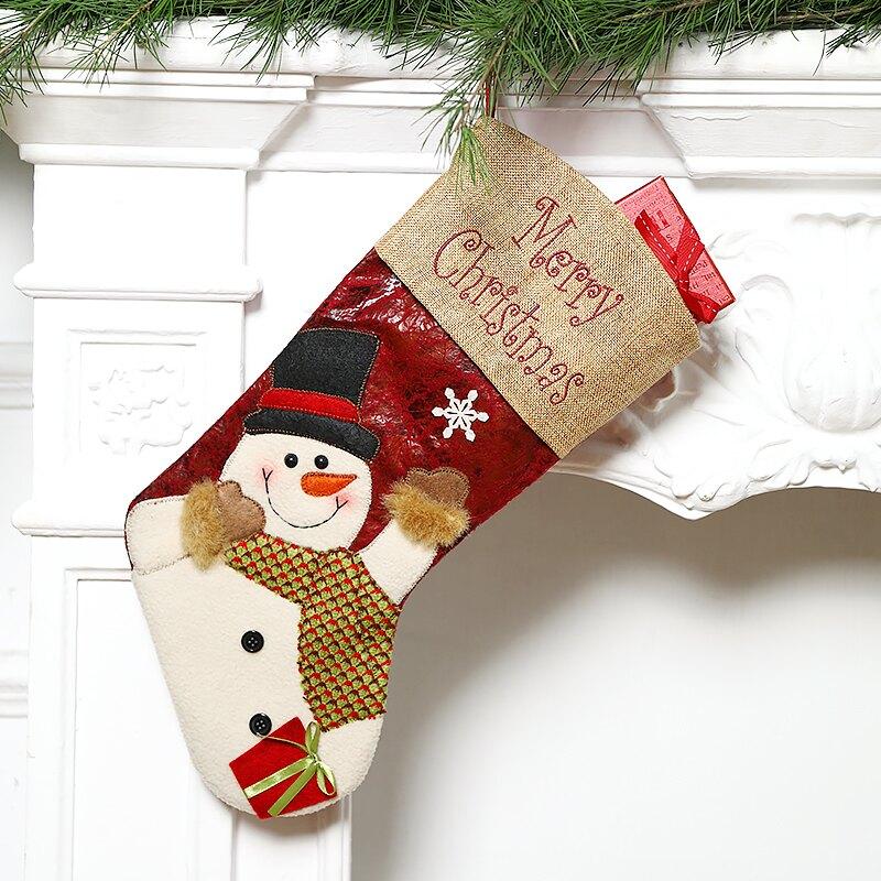圣誕節裝飾品兒童圣誕襪子禮物袋糖果禮品襪大號掛件卡通老人雪人1入