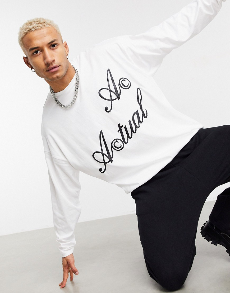 ASOS Actual oversized long sleeve t-shirt in white with logo