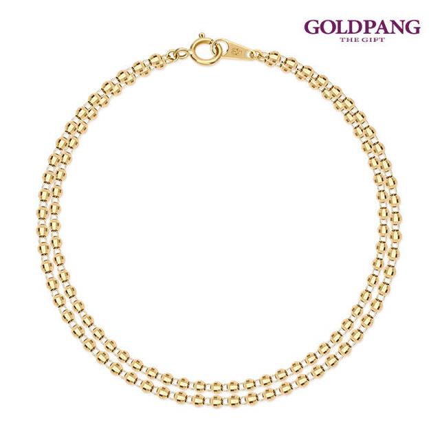 [Gold Pang] 18k 切割面玻璃珠 雙線 手鍊