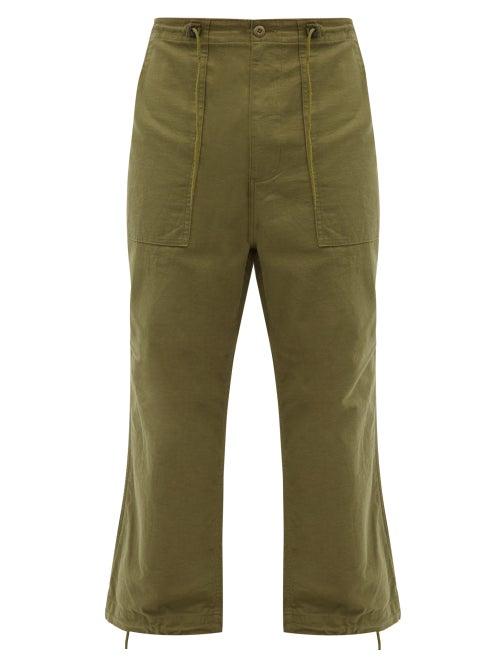 Needles - Drawstring-waist Cotton-canvas Cargo Trousers - Mens - Green