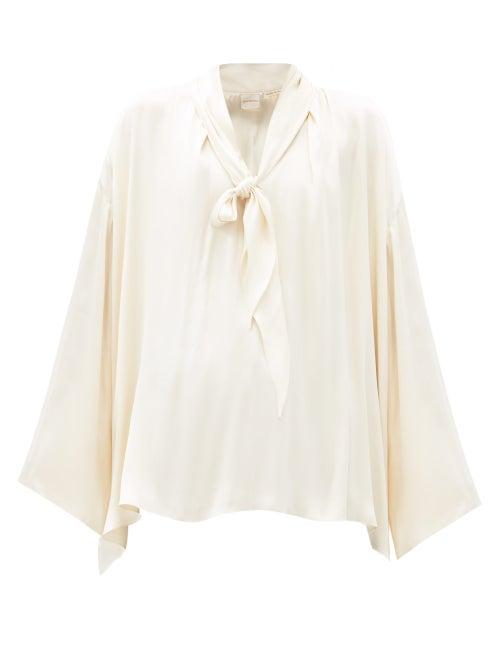 Zanini - V-neck Pussy-bow Silk-satin Blouse - Womens - Cream