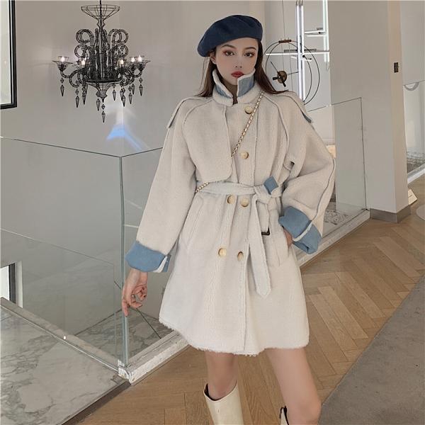 第二件4折 韓國風綁帶收腰羊羔毛大衣雙排扣顆粒絨毛呢單品外套