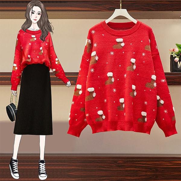 聖誕毛衣外套~大碼圣誕款韓版時尚寬松長袖圣誕紅色毛衣女3F141愛尚布衣
