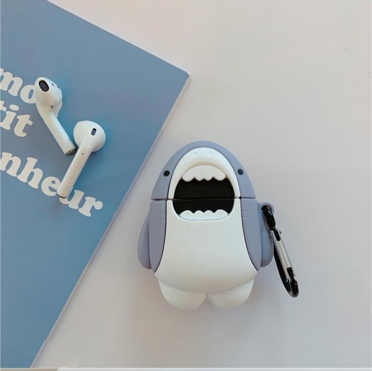 AirPods 1/2代 可愛張嘴鯊魚 矽膠藍芽耳機保護套 附掛勾 | OMG買瘋樂