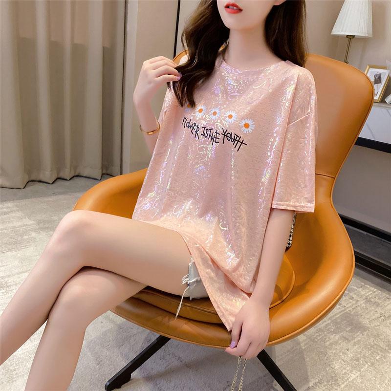 夏季女裝2020新款亮閃閃網紅t恤女ins超火cec短袖寬鬆中長款上衣