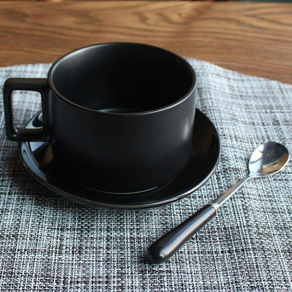 簡約咖啡杯陶瓷馬克杯套裝帶碟勺子北歐下午茶咖啡器具-快速出貨