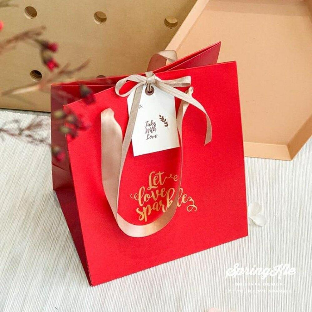 禮袋紅色年會小號手提袋創意喜糖禮盒禮品包裝袋結婚喜袋子新娘禮物袋-快速出貨