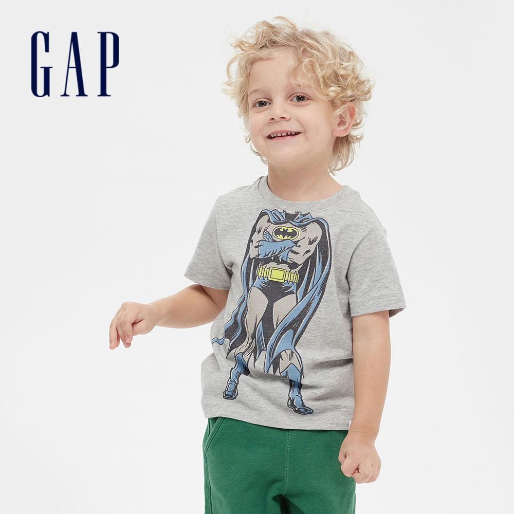 Gap 男幼童 Gap x DC™正義聯盟系列蝙蝠俠創意舒適印花短袖T恤 577608-淺灰色