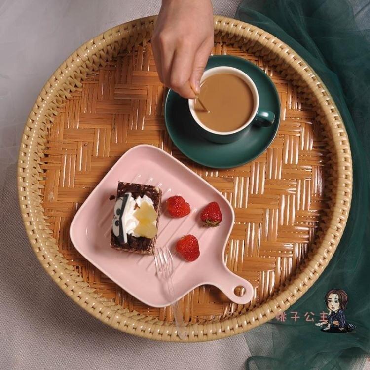 飄窗藤編桌 藤編茶幾飄窗茶臺竹編家用高腳果盤果籃輕巧便攜戶外野餐桌子T