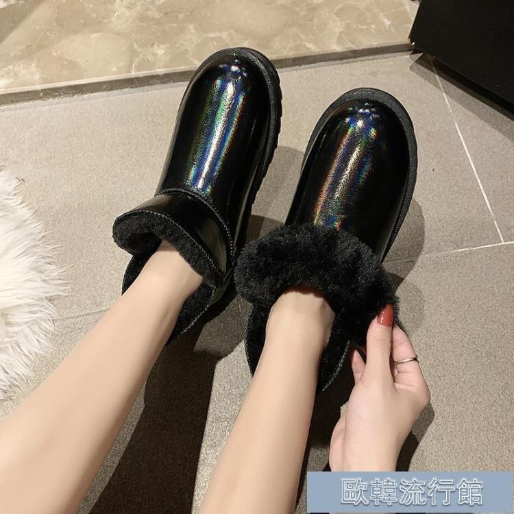 雪地靴女 雪地靴女皮毛一體2020秋冬新款棉鞋加絨保暖皮面防水面包鞋短筒靴