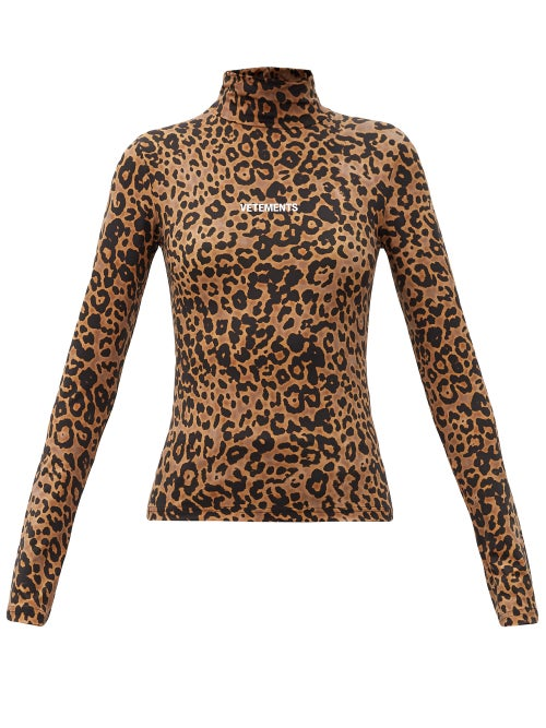 Vetements - Logo And Leopard-print Stretch-jersey Top - Womens - Leopard