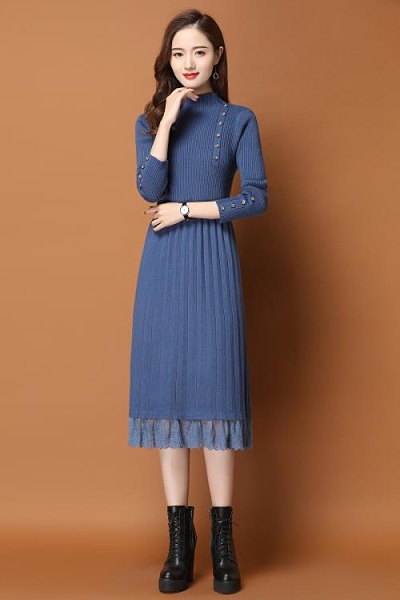 早秋洋裝女2020秋冬季長款配大衣的加厚內搭蕾絲針織過膝毛衣裙 果果輕時尚