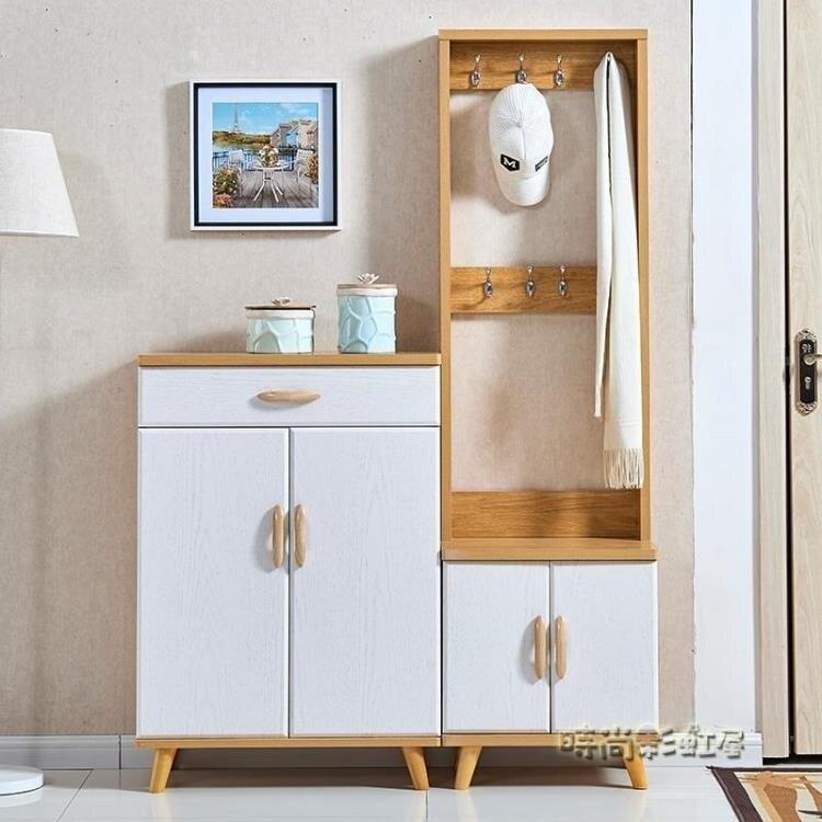 門口北歐鞋櫃入戶門廳櫃帶掛衣架一體家用組合多功能玄關衣帽櫃木MBS