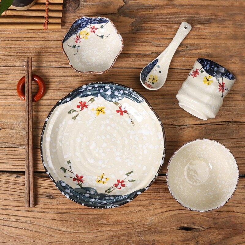 一人食餐具陶瓷和風盤勺子味碟杯子菜盤飯碗商用擺臺餐具套裝家用1入