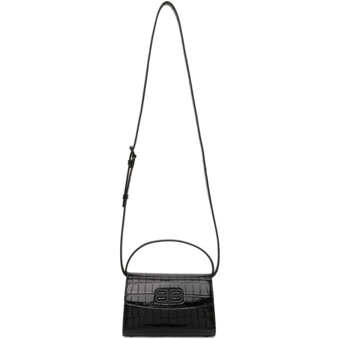 Balenciaga 黑色 XS Ghost 鳄鱼纹手提包