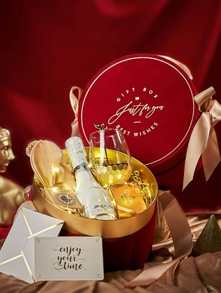 禮盒紅色ins風高檔結婚禮伴手禮創意伴娘郎生日滿月回禮物空盒子定制-快速出貨
