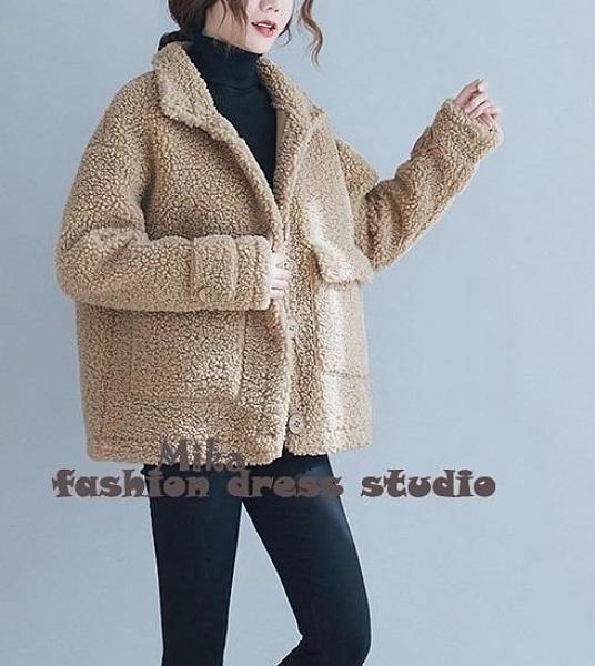 依多多 刷毛外套 復古文藝加厚保暖羊羔毛外套