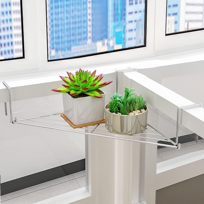 辦公室三角鐵藝花架辦公桌面工位隔板置物架陽臺護欄轉角收納掛架