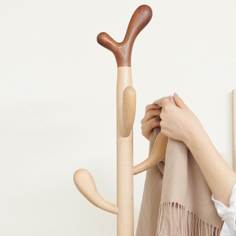 實木衣帽架客廳間轉角木質創意小型衣服架落地臥室衣架兒童掛衣架  聖誕節狂歡購