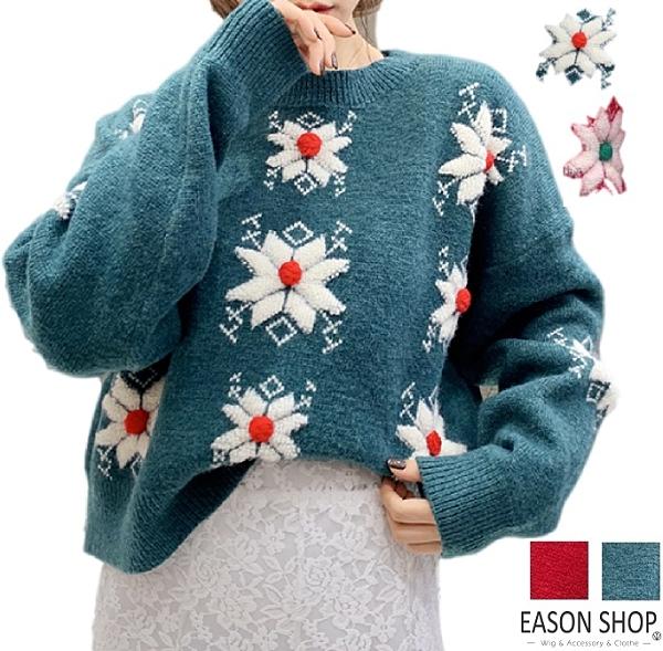 EASON SHOP(GW9835)韓版聖誕節雪花毛球刺繡落肩寬鬆圓領長袖針織衫毛衣女上衣服打底寬版內搭加厚