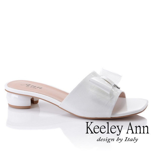 Keeley Ann 時尚膠片 蝴蝶結膠片造型圓跟拖鞋(白色921772140)
