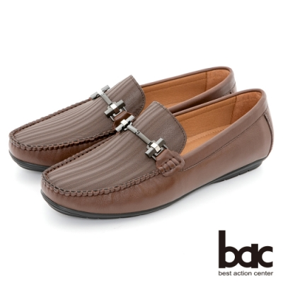 【bac】都會時尚 帥氣壓紋真皮帆船鞋-咖啡色