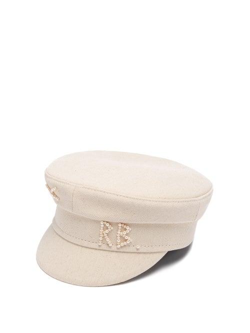 Ruslan Baginskiy - Faux Pearl-logo Embellished Cotton Baker Boy Cap - Womens - Beige