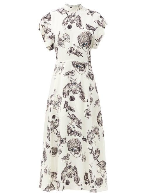 Raey - Roll-sleeve Kitten-print Silk Midi Dress - Womens - Ivory Multi