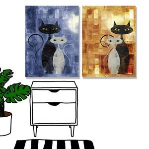 【24mama 掛畫】二聯式 油畫布 無框畫 30x40cm-貓咪畫布油畫布無時鐘