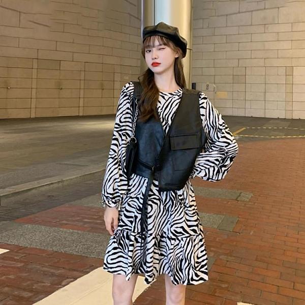 秋季2020新款復古撞色斑馬條紋泡泡袖洋裝女裝收腰顯瘦過膝長裙 【雙十二下殺】