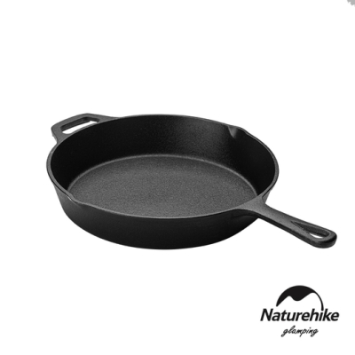 Naturehike 戶外野營 單柄鑄鐵不沾平底煎鍋25cm