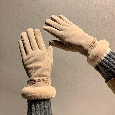 毛線手套 女冬天保暖加厚可愛ins冬韓版騎車防風防寒加絨五指騎行