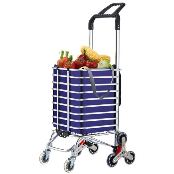 拉桿車 購物車買菜車小拉車輕便攜折疊拉桿家用拖車老人爬樓梯手拉車 莎瓦迪卡