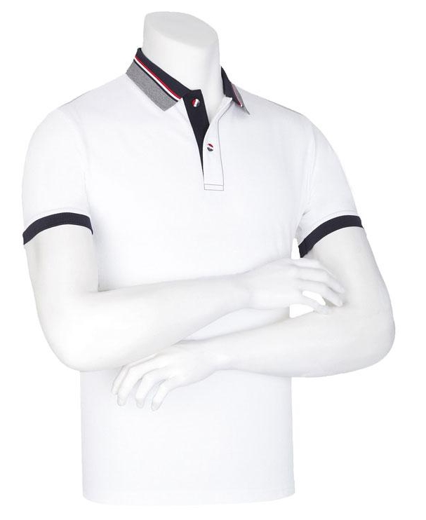 [顏色:白色|尺碼:L] 3條线 圖案 領子 T恤 (5 color)團體T恤 隊服 運動會 男士短袖T恤 男士短袖