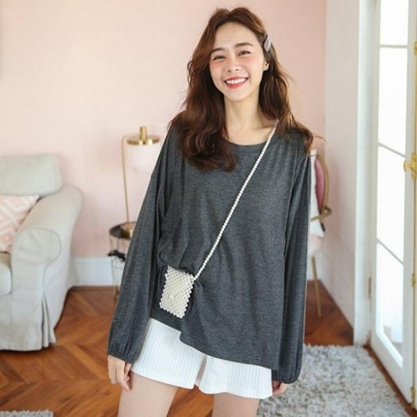 漂亮小媽咪 純色 哺乳裝【B5150GU】 寬鬆 親膚 大碼哺乳上衣韓版孕婦長袖
