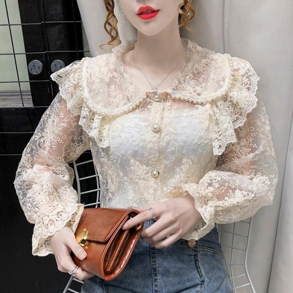 蕾絲上衣 2021年秋季新款韓版洋氣長袖釘珠娃娃領甜美蕾絲衫開衫上衣 吊帶 童趣屋 交換禮物