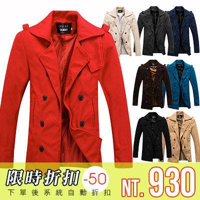 [現貨] 韓版冬時尚保暖首選造型領口設計雙排釦毛呢大衣外套(八色)【QZZZ2256】