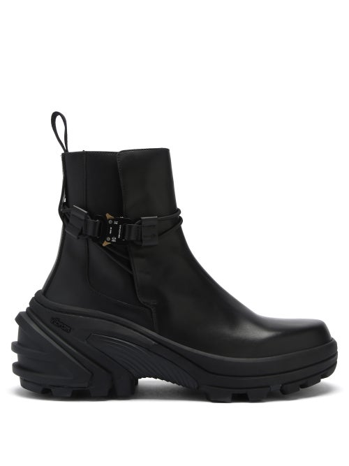 1017 ALYX 9SM - Rollercoaster-buckle Leather And Rubber Boots - Mens - Black