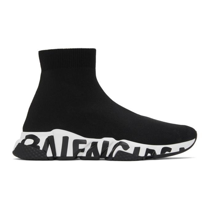 Balenciaga 黑色 Graffiti Sole Speed 高帮运动鞋