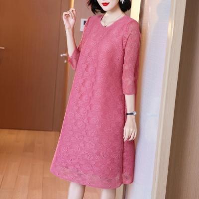 氣質圓領重工刺繡蕾絲寬鬆洋裝-F(共二色)-糖潮