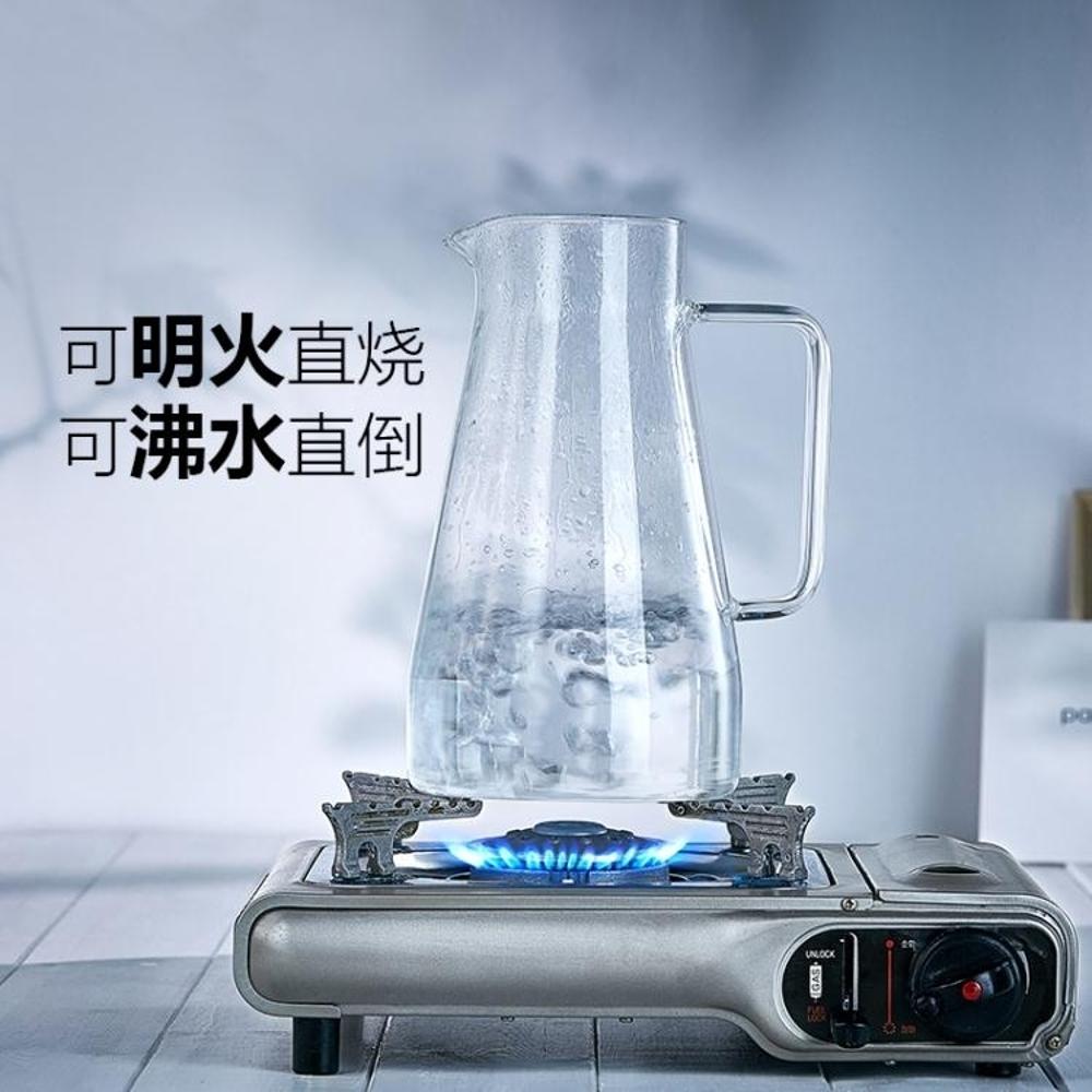 茶壺 冷水壺 玻璃水壺耐熱耐高溫防爆大容量透明涼水杯家用套裝 涼水壺-快速出貨