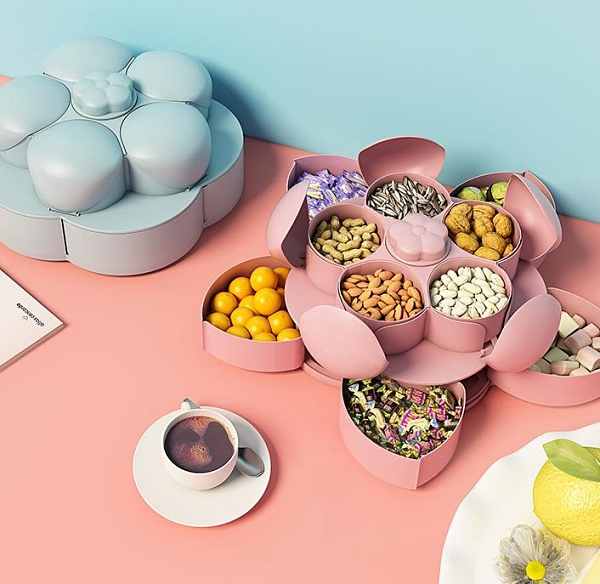 雙層旋轉糖果盒零食堅果干果瓜子收納盒家用果盤【聚寶屋】